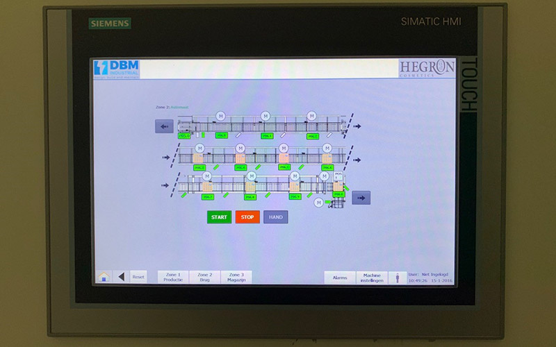 Hegron retrofit pallettransportinstallatie nieuwe Siemens PLC en HMI's